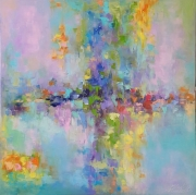 tableau abstrait abstraction abstrait : painting *Emerald Lagoon*Oil on canvas 80x80 cm