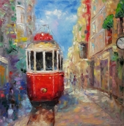 tableau architecture red tram architecture abstrait painting : painting *Red tram*Oil on canvas 80x80 cm  Vendu